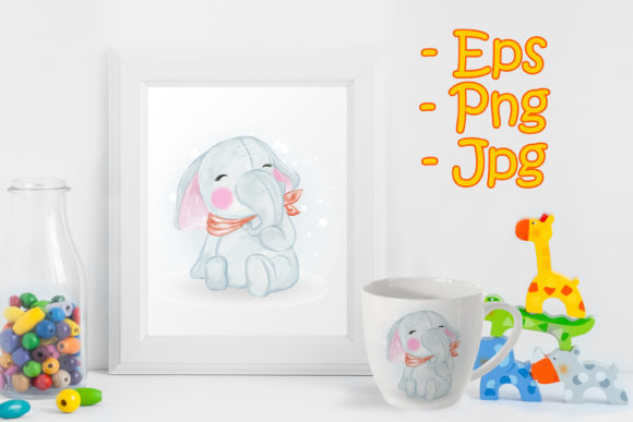 Print on Demand: Adorable Cute Kawaii Baby Elephant Graphic Illustrations By OrchidArt