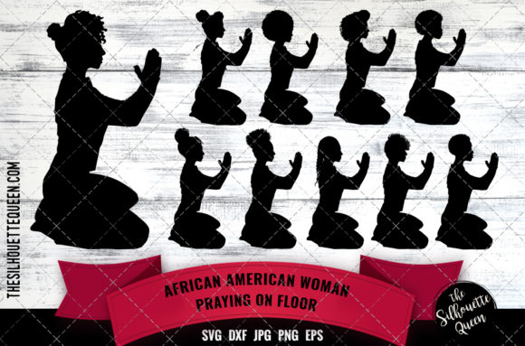 Download Free African American Woman Praying Graphic By Thesilhouettequeenshop for Cricut Explore, Silhouette and other cutting machines.