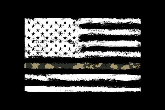 Print on Demand: American Flag Camo Thin Line Military Graphic Objects By SunandMoon