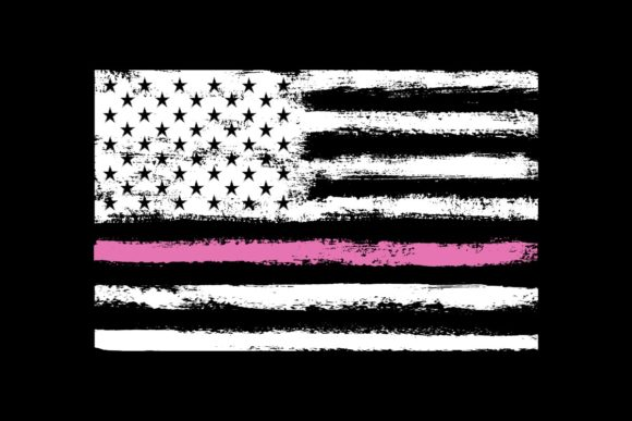 Print on Demand: American Flag Cancer Awareness Pink Line Graphic Illustrations By SunandMoon