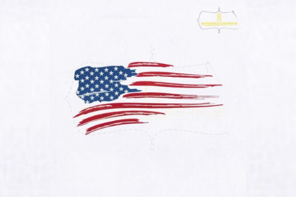 American Flag Distressed Independence Day Embroidery Design By royalembroideries - Image 1