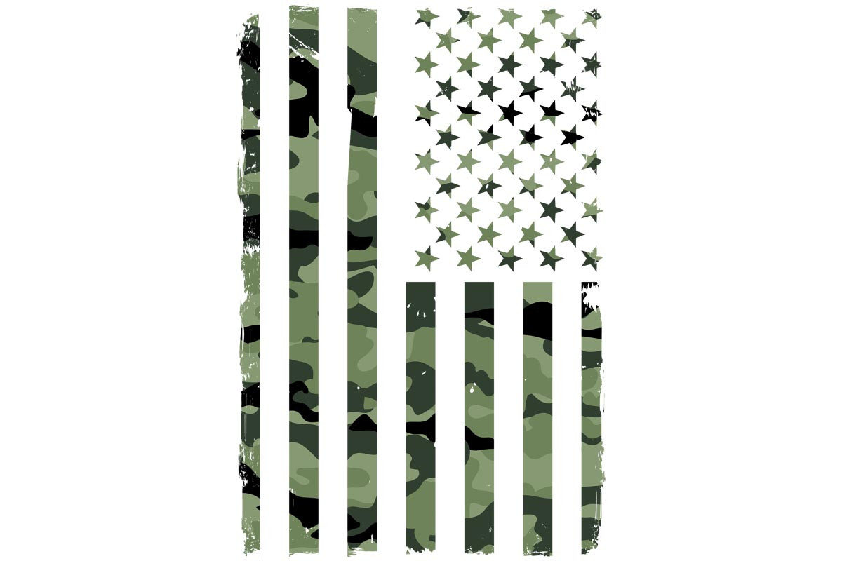 Download Free American Flag Green Camouflage Military Graphic By Sunandmoon for Cricut Explore, Silhouette and other cutting machines.