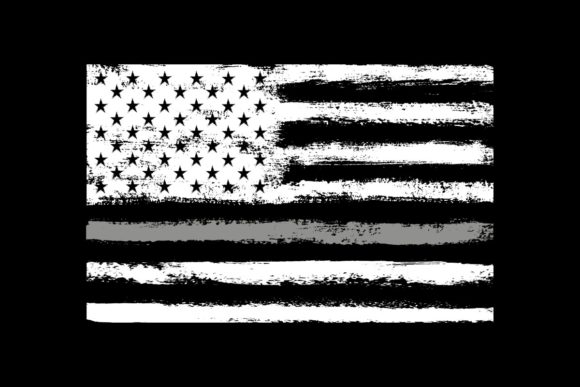 Print on Demand: American Flag Grey Thin Line Corrections Graphic Objects By SunandMoon