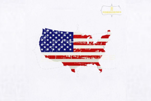 American Flag Map Independence Day Embroidery Design By RoyalEmbroideries