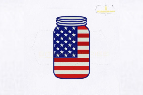 American Flag Mason Jar Independence Day Embroidery Design By RoyalEmbroideries