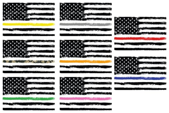 Download Free American Flag Thin Line Memorial 8 Pack Graphic By Sunandmoon for Cricut Explore, Silhouette and other cutting machines.