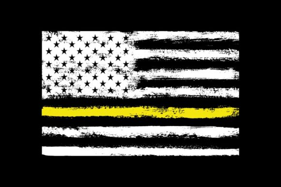 Print on Demand: American Flag Yellow Thin Line Security Graphic Objects By SunandMoon