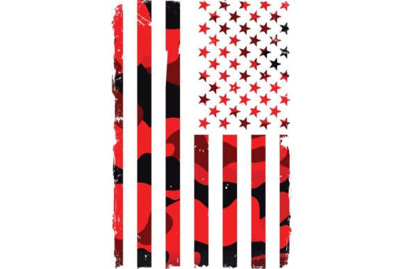 Print on Demand: American Flag with Red Camo Graphic Objects By SunandMoon