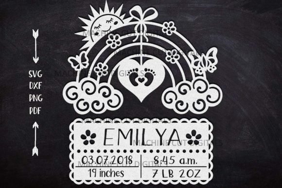 Download Free Baby Birth Announcement Card Paper Cut Graphic By Cornelia for Cricut Explore, Silhouette and other cutting machines.