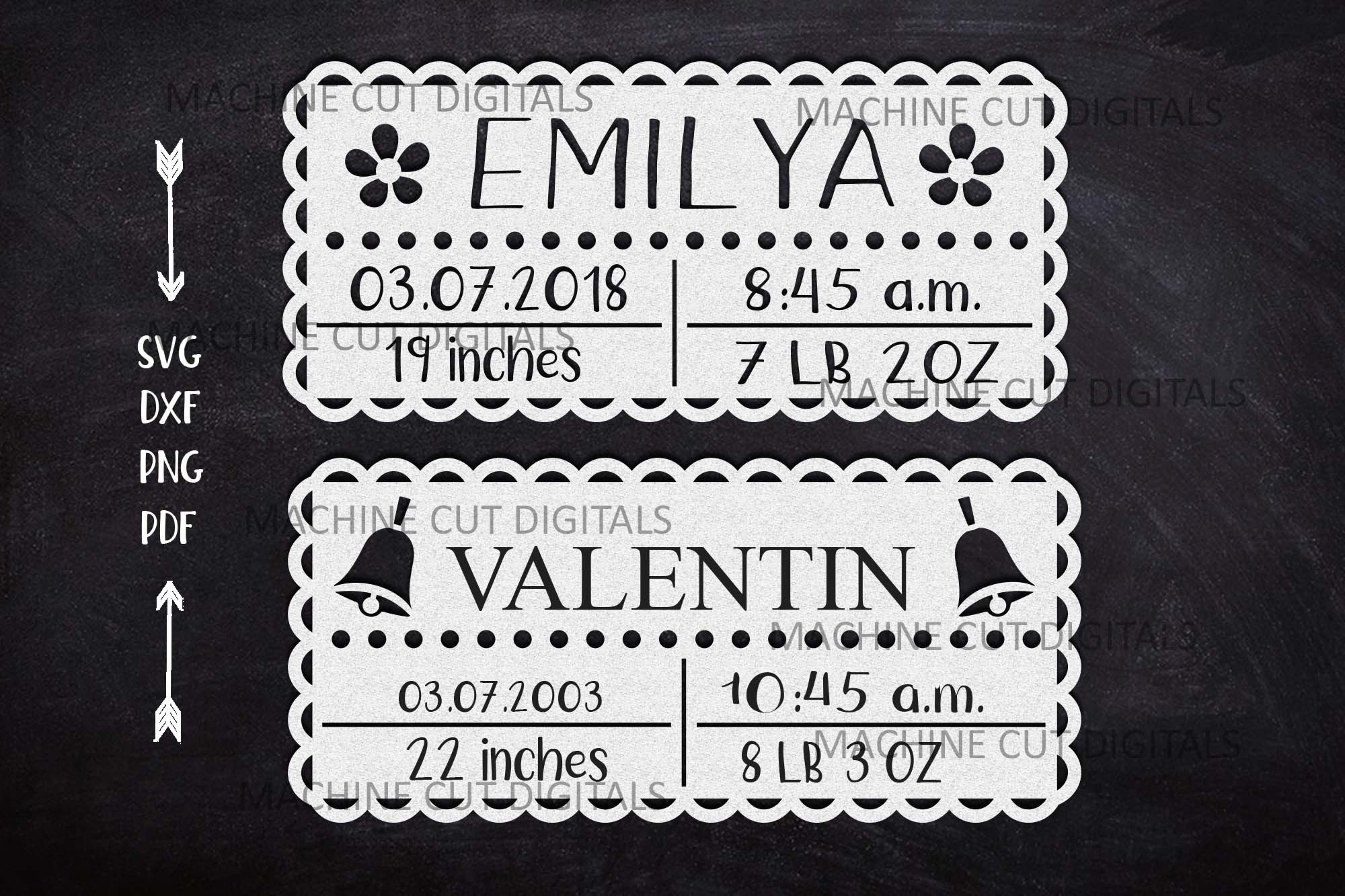 Baby Birth Announcement Paper Cut SVG File