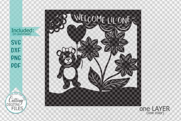 Baby Birth Announcement Paper Cut Graphic By Cornelia Creative