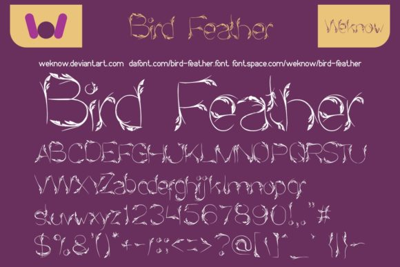 Print on Demand: Bird Feather Display Font By weknow