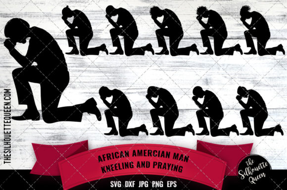 Download Free Black Man Kneeling And Praying Graphic By Thesilhouettequeenshop for Cricut Explore, Silhouette and other cutting machines.