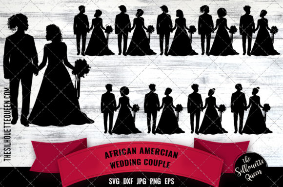 Black Wedding Couple Graphic Crafts By thesilhouettequeenshop