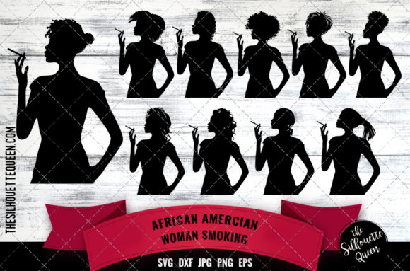 Download Free Black Woman Smoking Svg Graphic By Thesilhouettequeenshop for Cricut Explore, Silhouette and other cutting machines.