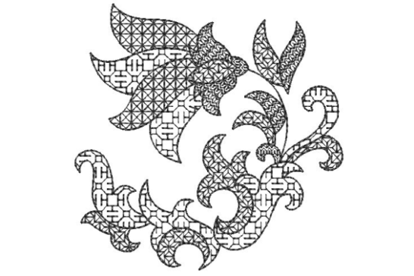 Blackwork Flower Floral & Garden Embroidery Design By Carol Undy