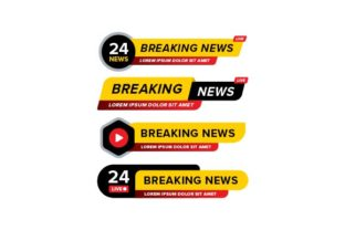 Print on Demand: Breaking News Banner Set Graphic Web Elements By Kanggraphic