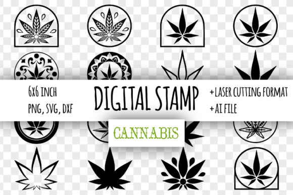 Download Free Cannabis Digital Stamp Marijuana Leaf Graphic By Bunart for Cricut Explore, Silhouette and other cutting machines.