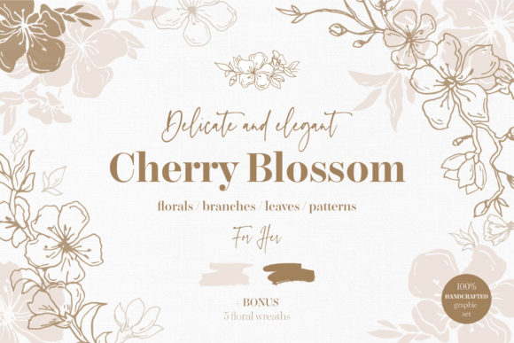 Cherry Blossom Graphic Set Graphic Patterns By ekaterinakiriy