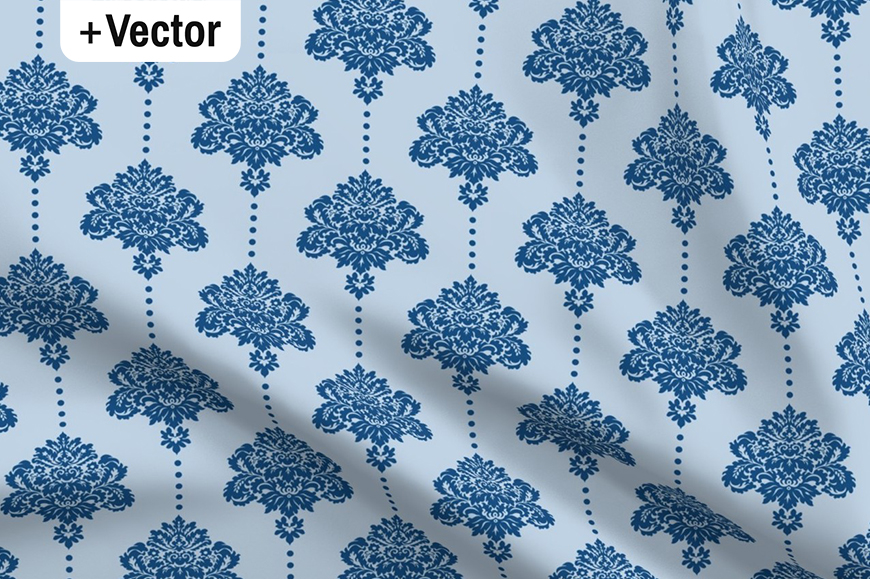 Download Free Classic Blue Classic Damask Pattern Graphic By Dana Du Design for Cricut Explore, Silhouette and other cutting machines.