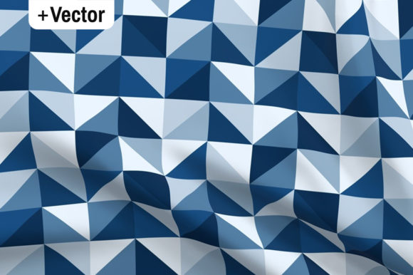 Print on Demand: Classic Blue Retro Triangles Mosaic Patt Graphic Patterns By Dana Du Design