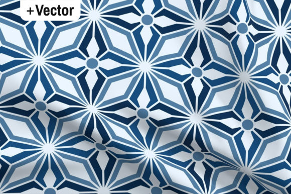Print on Demand: Classic Blue Stars Starbursts Pattern Graphic Patterns By Dana Du Design