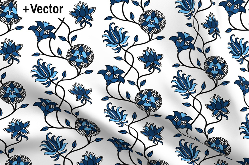 Download Free Classic Blue Indian Flowers Pattern Grafico Por Dana Du Design for Cricut Explore, Silhouette and other cutting machines.