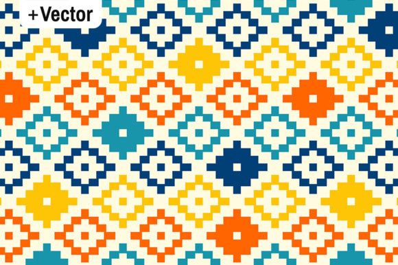 Download Free Colorful Simple Pixel Aztec Kilim Patter Graphic By Dana Du for Cricut Explore, Silhouette and other cutting machines.
