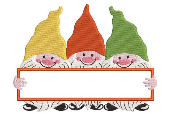 Cute Gnomes with Space for Name or Text Boys & Girls Embroidery Design By Embroidery Shelter