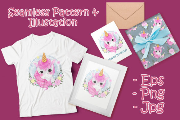 Print on Demand: Cute Unicorn with Flower Wreath Graphic Illustrations By OrchidArt