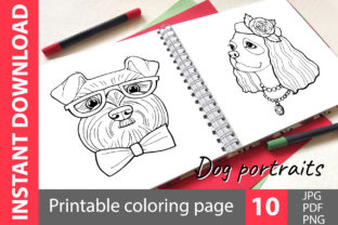 Dog Portraits - Coloring Book Graphic Coloring Pages & Books Kids By NataliMyaStore 1
