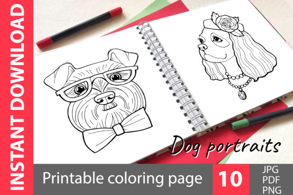 Download Free Dog Portraits Coloring Book Graphic By Natalimyastore for Cricut Explore, Silhouette and other cutting machines.