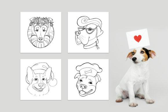 Dog Portraits - Coloring Book Graphic Download