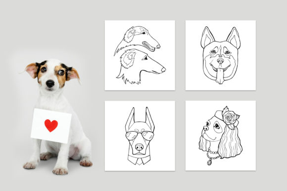 Dog Portraits - Coloring Book Graphic Item