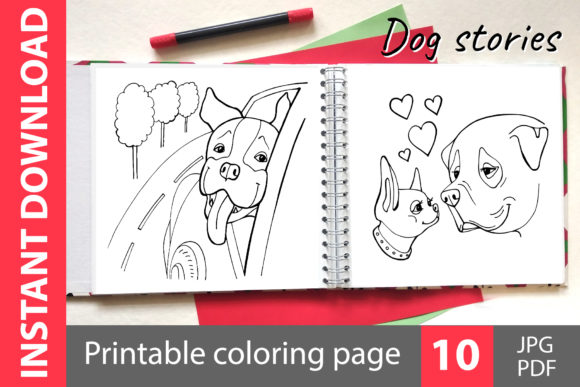 Dog Stories Coloring Book Gráfico Libros para colorear - Niños Por NataliMyaStore