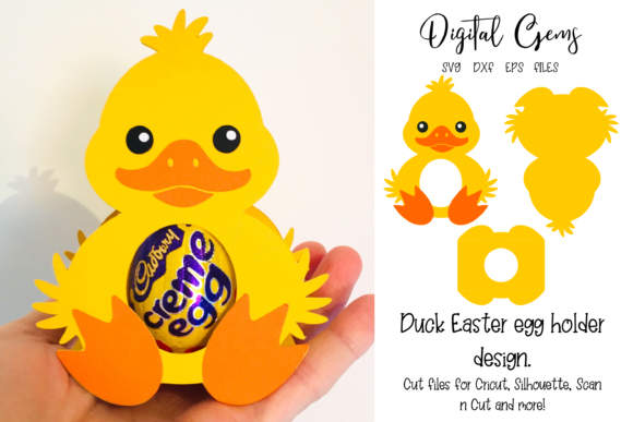 Download Free Duck Easter Egg Holder Graphic By Digital Gems Creative Fabrica for Cricut Explore, Silhouette and other cutting machines.