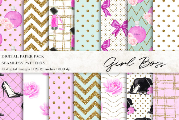 Fashion Makeup Girl Boss Digital Papers Graphic Patterns By BonaDesigns