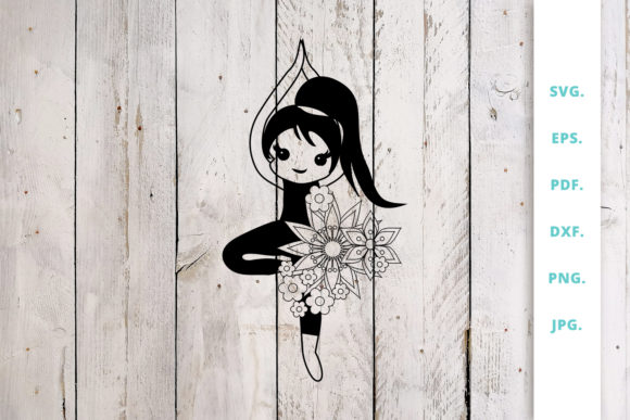 Download Free Floral Cute Yoga Girl Cut File 2 Graphic By Sintegra Creative for Cricut Explore, Silhouette and other cutting machines.