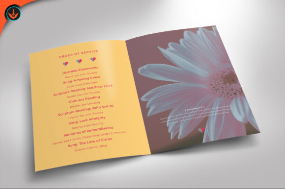 Download Free Floral Funeral Program Template Graphic By Seraphimchris for Cricut Explore, Silhouette and other cutting machines.