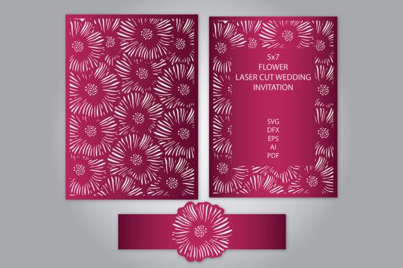 Download Free Flower Laser Cut Wedding Invitation Graphic By Meshaarts for Cricut Explore, Silhouette and other cutting machines.