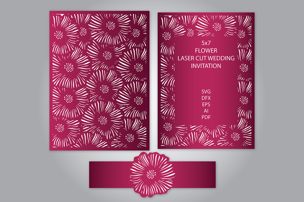 Flower Laser Cut Wedding Invitation Graphic By Meshaarts