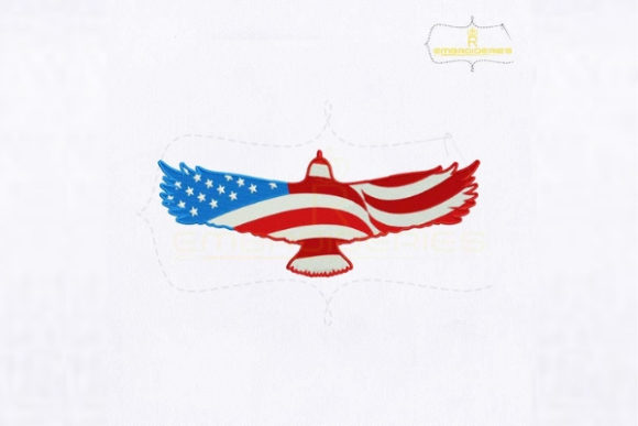 Flying American Eagle Flag Independence Day Embroidery Design By royalembroideries