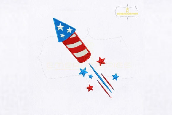 Fourth of July USA Firecracker Independence Day Embroidery Design By royalembroideries