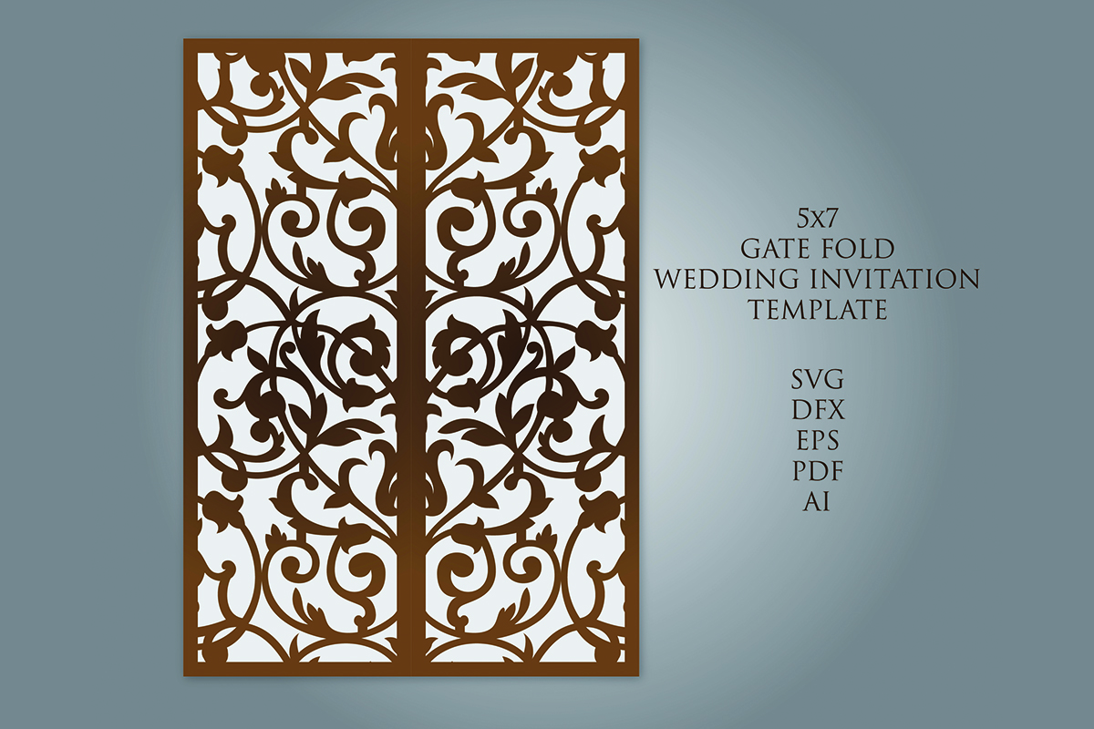 Download Free Gate Fold Laser Cut Wedding Invitation Graphic By Meshaarts for Cricut Explore, Silhouette and other cutting machines.