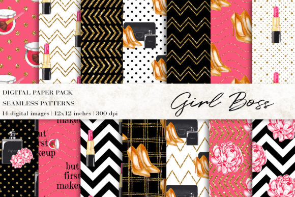 Girl Boss Digital Papers,Fashion Pattern Graphic Patterns By BonaDesigns