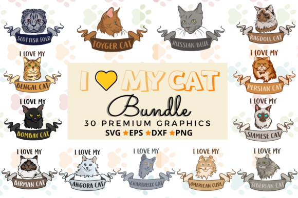 I Love My Cat Bundle Graphic Crafts By Graphipedia