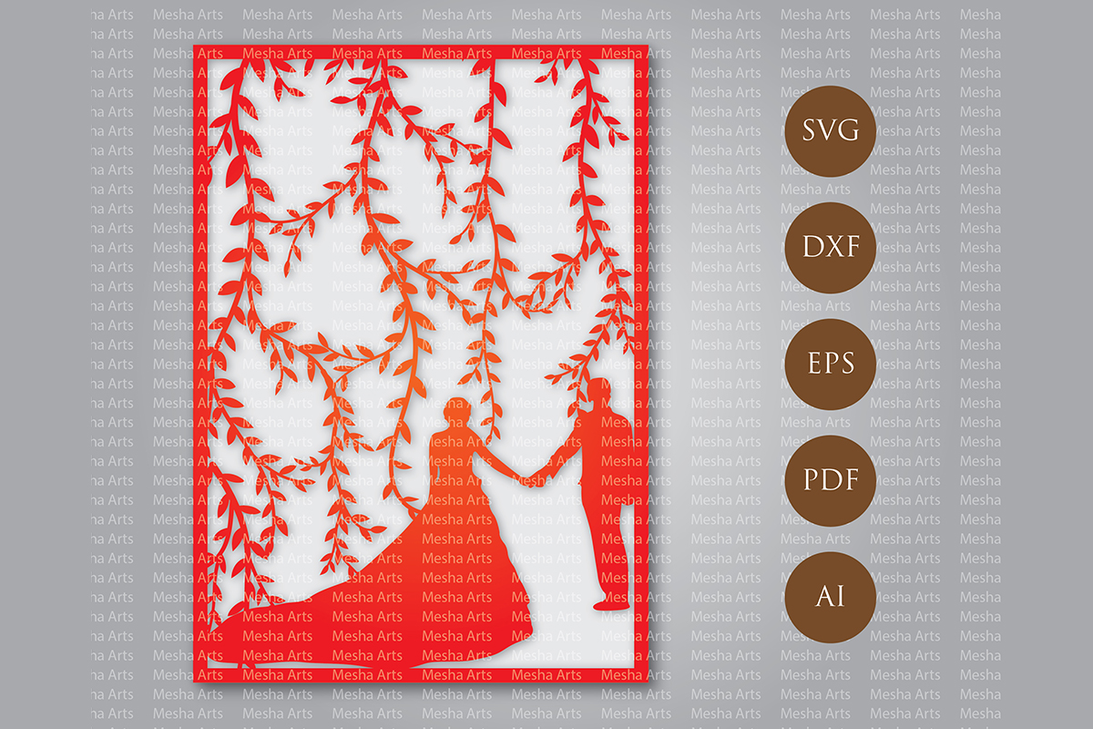 Download Free Laser Cut Wedding Invitation Template Grafik Von Meshaarts for Cricut Explore, Silhouette and other cutting machines.