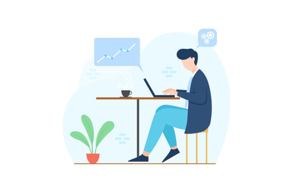 Download Free Man Working On Desk Illustration Graphic By Hariabriyoko for Cricut Explore, Silhouette and other cutting machines.