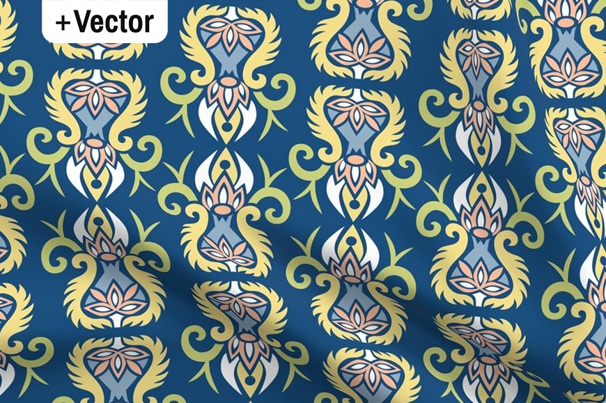 Download Free Modern Art Nouveau Style Blue Pattern Graphic By Dana Du Design for Cricut Explore, Silhouette and other cutting machines.