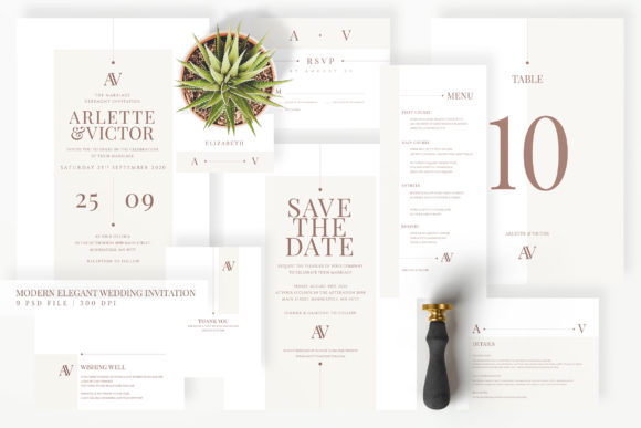 Download Free Wedding Invitation Suite Minimal Graphic By Azka Creative for Cricut Explore, Silhouette and other cutting machines.